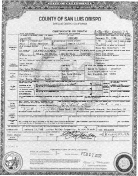 L. Ron Hubbard's Certificate of Death